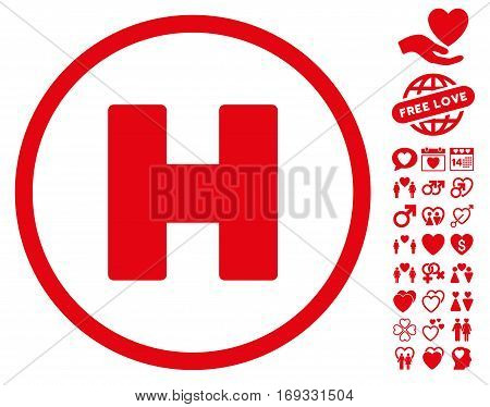 Helicopter Landing pictograph with bonus love graphic icons. Vector illustration style is flat iconic red symbols on white background.