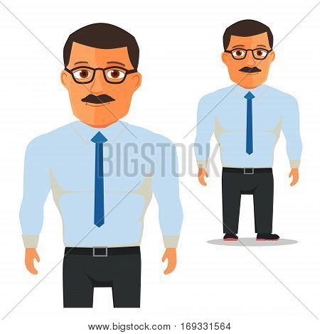 Man with glasses in white shirt with blue Tie Cartoon Character. Vector illustration