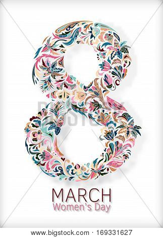 Vector illustration of doodle, zenart, zentangl figure eight with flowers. International Women's Day March 8. Tracery figure eight