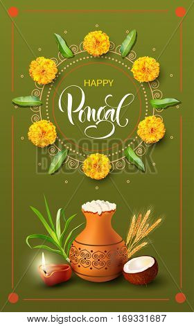 Greeting card with traditional mud pot for Indian harvest festival Pongal. Makar Sankranti background. Vector illustration.
