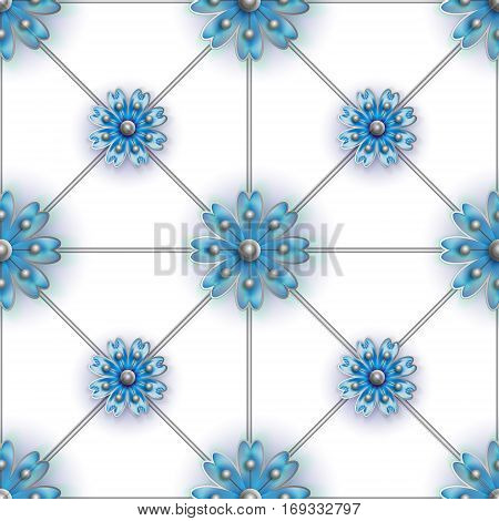 Floral seamless pattern for fabrics, textiles, wallpaper, paper. Vector. Blue stylized flowers on silver greed. Perfect orderliness background