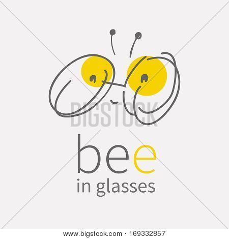 round eye glasses Logo.Linear hand draw cartoon smiling cute little bee.Kawai bug icon.Flat sign.Business internet concept.Trendy optic symbol design.vector illustration isolated on white background.