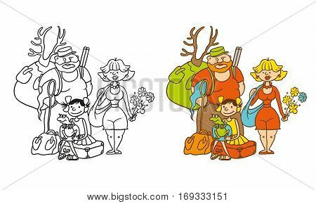 Vector coloring humorous caricature characters. Family from three persons - mother father daughter. Mom with flowers the hunter with a backpack dad girl holding a jar with a frog.