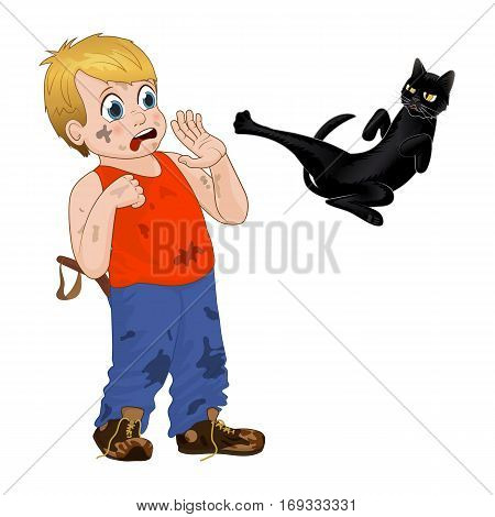 Hoodlum cheerful little boy frightened the black cat. Funny cartoon character. Isolated vector illustration, children play outdoors.