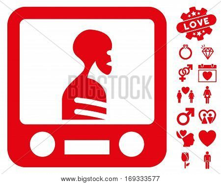 Xray Screening icon with bonus love clip art. Vector illustration style is flat iconic red symbols on white background.