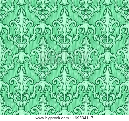 Seamless green vintage baroque pattern. Vector illustration background in ink hand drawn style.