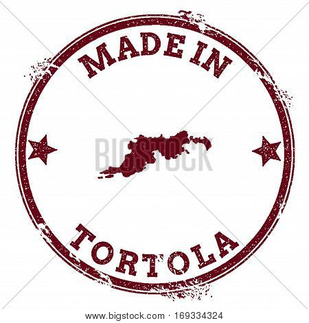 Tortola Seal. Vintage Island Map Sticker. Grunge Rubber Stamp With Made In Text And Map Outline, Vec