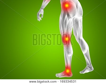 Conceptual 3D illustration of human man anatomy lower body health design, joint articular pain, ache injury on green background for medical fitness medicine bone care hurt, osteoporosis arthritis body