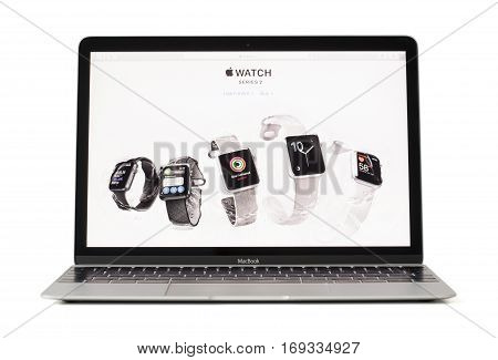 RIGA LATVIA - February 06 2017: iWatches on desktop of 12-inch Macbook laptop computer.