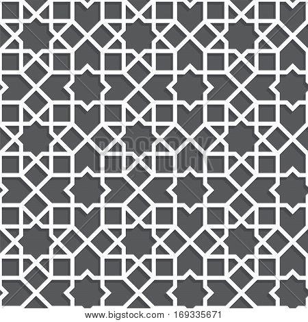 Islamic black and white pattern. Seamless vector geometric background in arabian style