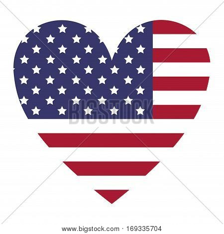 flag united states with heart shape vector illustration