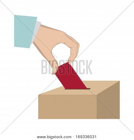 vote in hand and urn vector illustration
