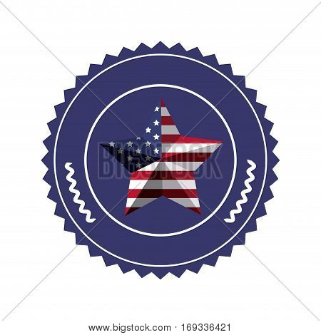 stamp with united states flag in shape star in 3d vector illustration