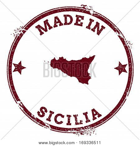 Sicilia Seal. Vintage Island Map Sticker. Grunge Rubber Stamp With Made In Text And Map Outline, Vec