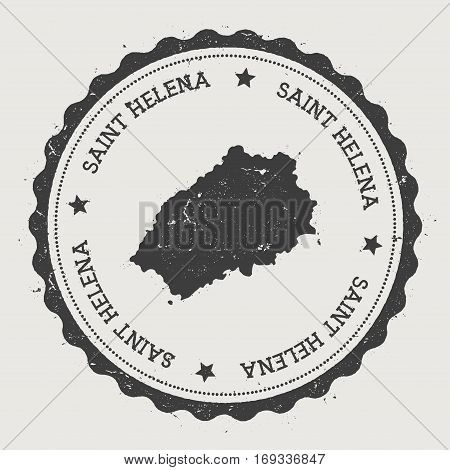 Saint Helena Sticker. Hipster Round Rubber Stamp With Island Map. Vintage Passport Sign With Circula