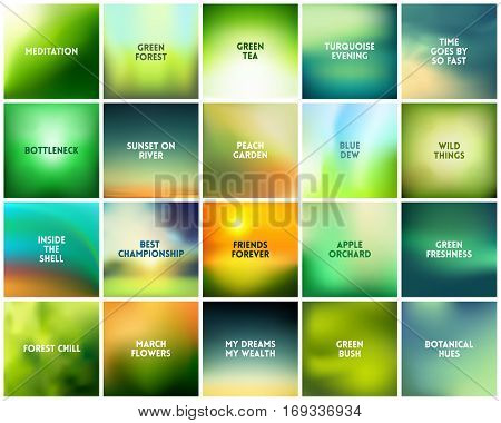 BIG set of 20 square blurred nature green eco backgrounds. With various quotes. Forest sunset and spring flowers leaves blurred green background