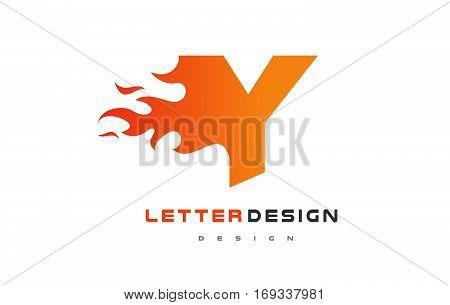 Y Letter Flame Logo Design. Fire Logo Lettering Concept Vector.