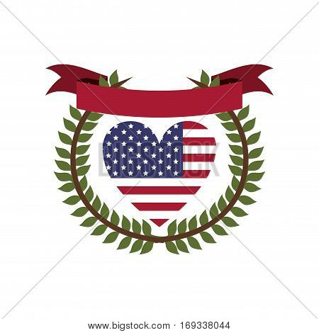 crown of leaves flag united states with heart shape and ribbon vector illustration