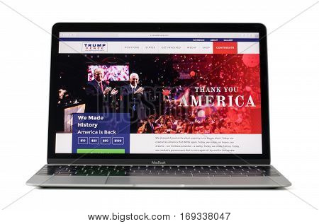 RIGA LATVIA - February 06 2017: Official campaign site of the Republican nominee in 2016 for U.S President on12-inch Macbook laptop computer.