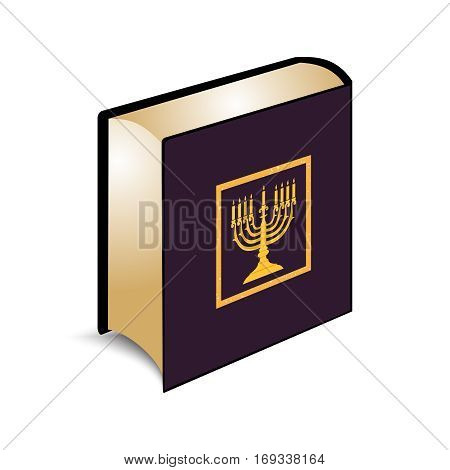 Vector illustration Jewish Holy scripture the Torah, on a book cover Menorah, Hanukkah of gold color.