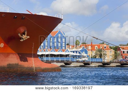 Ship entering harbor of Willemstad on Curacao