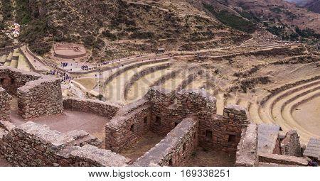 Inca ruins in Pisac in the sacred valley near Cusco, Peru
