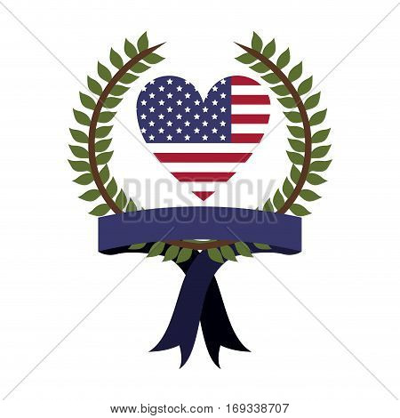 crown of leaves with flag united states with heart shape and ribbon vector illustration