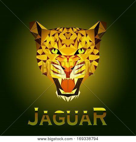 portrait of a jaguar in a triangular style