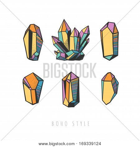 Set of colorful crystals. Vector decorative crystals and minerals isolated on white.