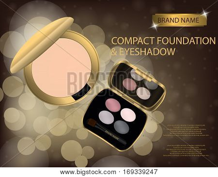 Glamorous compact foundation and eyeshadow on the sparkling effects background. Mockup 3D Realistic Vector illustration for design template
