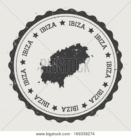 Ibiza Sticker. Hipster Round Rubber Stamp With Island Map. Vintage Passport Sign With Circular Text