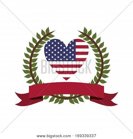 crown of leaves flag united states with heart shape and label vector illustration