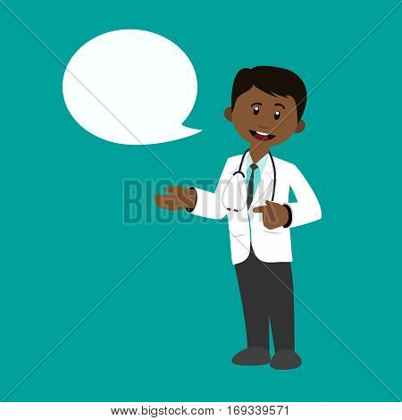 Man doctor talking speech character medical people flat cartoon flat vector stock