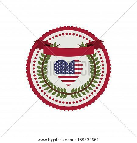 stamp with flag united states with heart shape and crown of leaves vector illustration