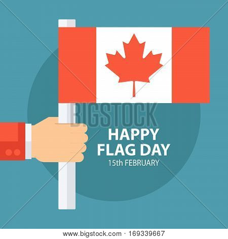 Flag Day of Canada greeting card with hand holding Canadian flag. Flat design vector illustration.