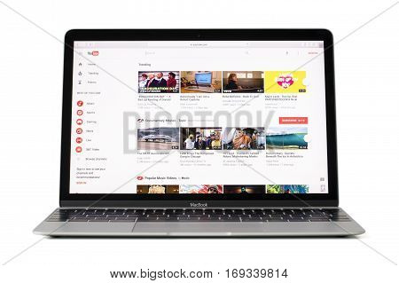 RIGA LATVIA - February 06 2017:Video streaming site Youtube.com on 12-inch Macbook laptop computer.