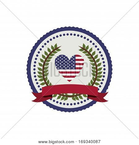 stamp with flag united states with heart shape and crown of leaves with label vector illustration