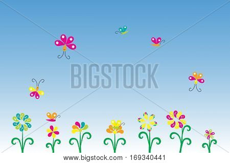 Greeting card with flowers for your design on gradient background