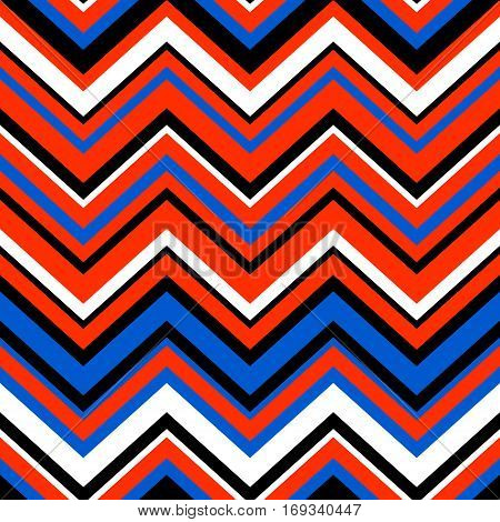 Abstract colorful geometric chevron seamless pattern in blue and orange, vector background