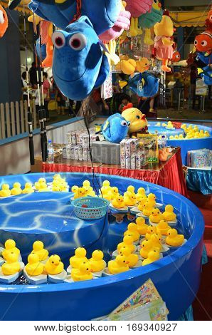 Fishing Game Of Yellow Ducks At The Carnival