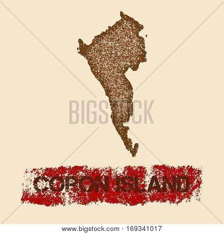 Coron Island Distressed Map. Grunge Patriotic Poster With Textured Island Ink Stamp And Roller Paint