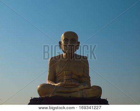 Luang Pu great - grandparents Statue grandfather AyutthayaThailand.