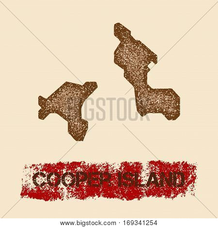 Cooper Island Distressed Map. Grunge Patriotic Poster With Textured Island Ink Stamp And Roller Pain