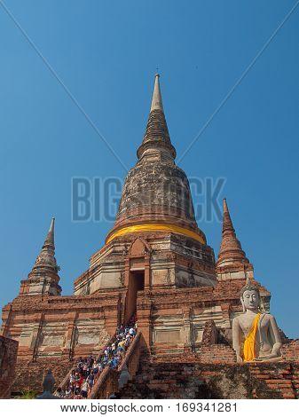 Wat Yai Chaimongkol Ayutthaya Thailand. ancient, architecture.