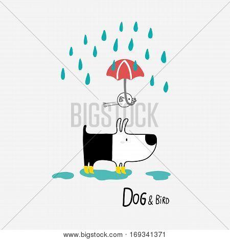 Dog & Bird under the rain vector illustration