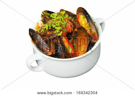 Delicious Mussels In Tomato Sauce In White Plate On White Background
