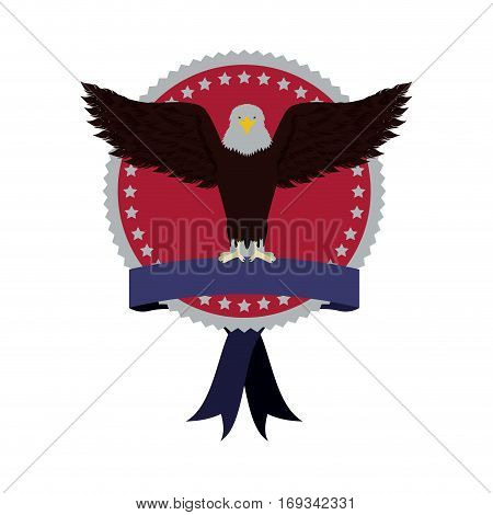 stamp with label and eagle with open wings vector illustration