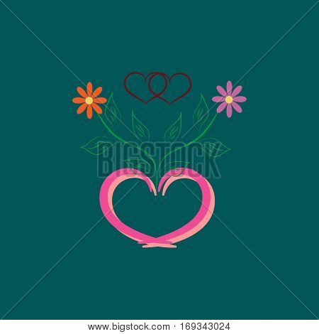 Valentines day card. Romantic flower around two heart in frame heart. Two heart symbol love and holiday womens day. Romantic sign linked join love passion. Design element. Vector illustration