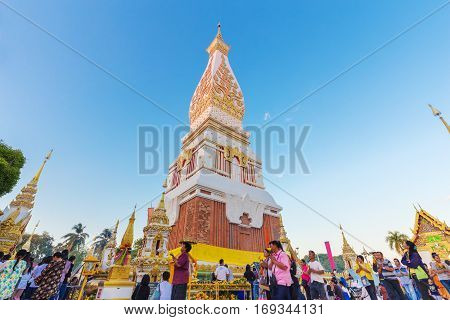 People Ceremony To Worship The Beautiful At Wat Phra Thatphanom