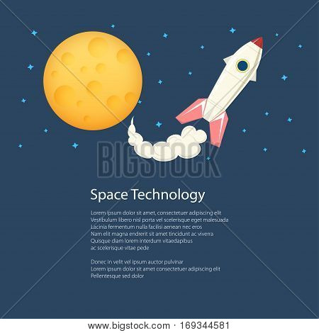 Rocket with Moon and Text,Spacecraft Flying in Space among the Stars and Planets ,Poster Brochure Flyer Design,Scientific and Education Concept ,Vector Illustration